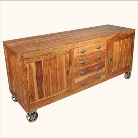 Storage Drawers On Wheels Solid Wood Buffet 4 Storage Drawers Cabinets Sideboard