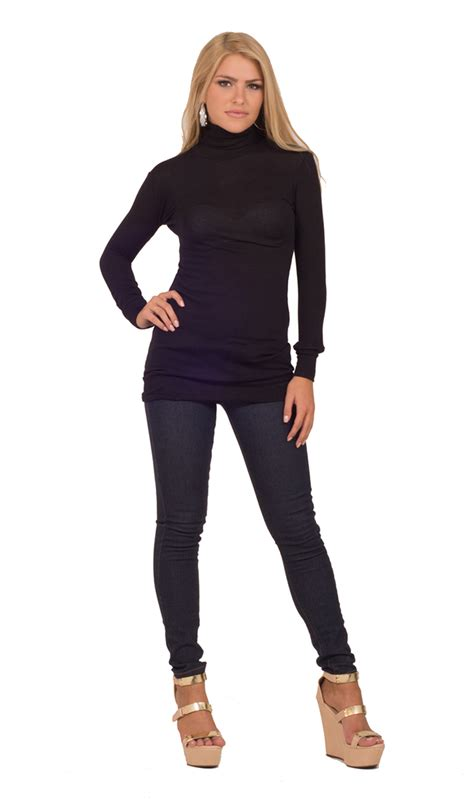 womens fitted casual ponte solid sweater ribbed turtleneck