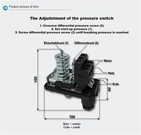Einhell Hauswasserwerk Druckschalter Einstellen by Druckschalter 230v F 252 R Druckw 228 Chter 1 5bar 10a Hauswasserwerk