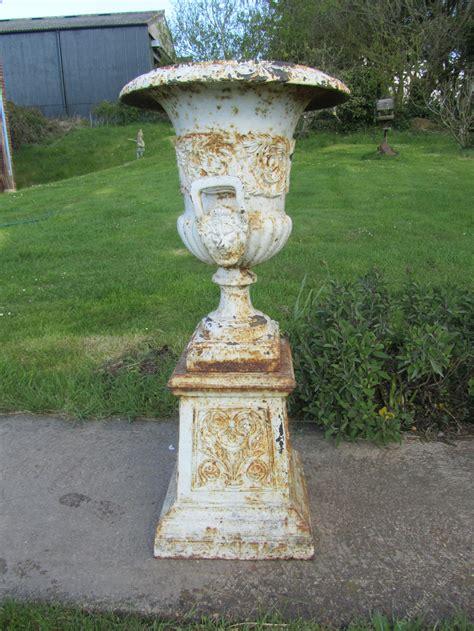 garden urns planters antiques atlas pair large cast iron urns