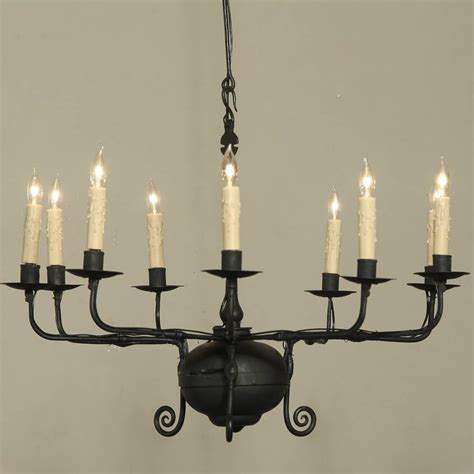 Wax Candle Chandelier Antique Wrought Iron Chandelier At 1stdibs