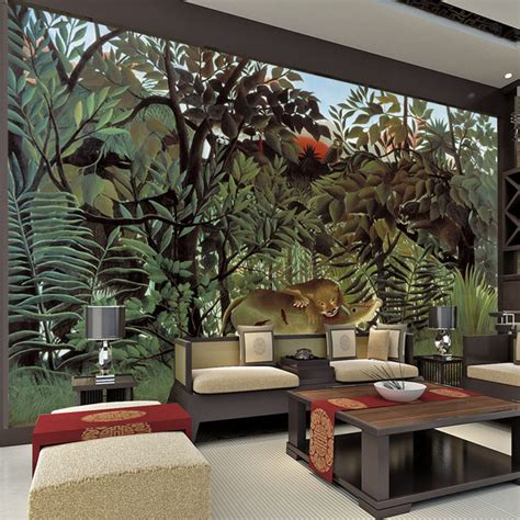 wall decor murals rousseau jungle painting wallpaper custom 3d wall murals