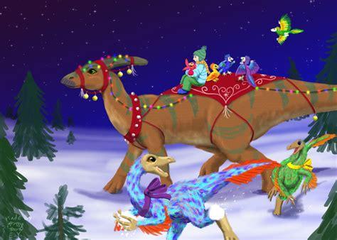 dinosaur christmas card by eyproductions on deviantart