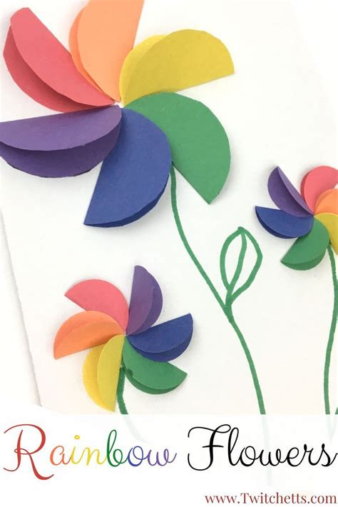Diy Construction Paper Crafts - construction paper crafts for rainbow flowers
