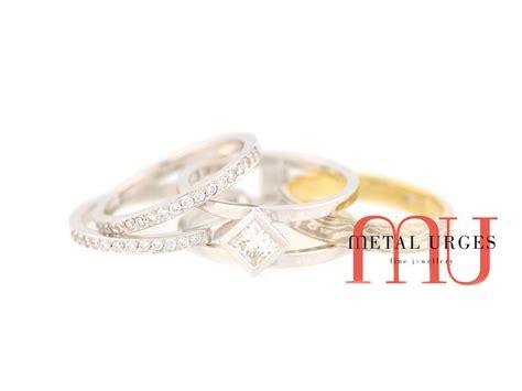 unique mokume gane 18ct white gold princess cut
