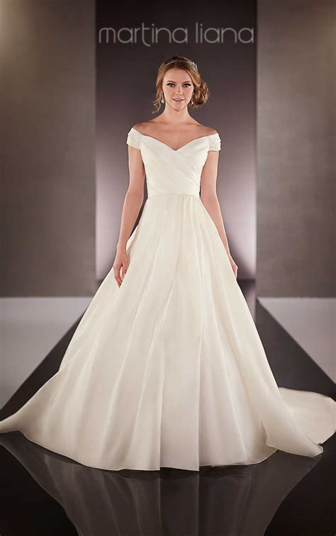 brautkleid halblang the shoulder satin wedding dress martina liana