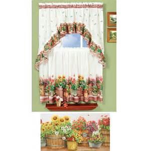 Sunflower Kitchen Curtain Country Sunflowers Garden 3 Kitchen Curtain Set Ebay