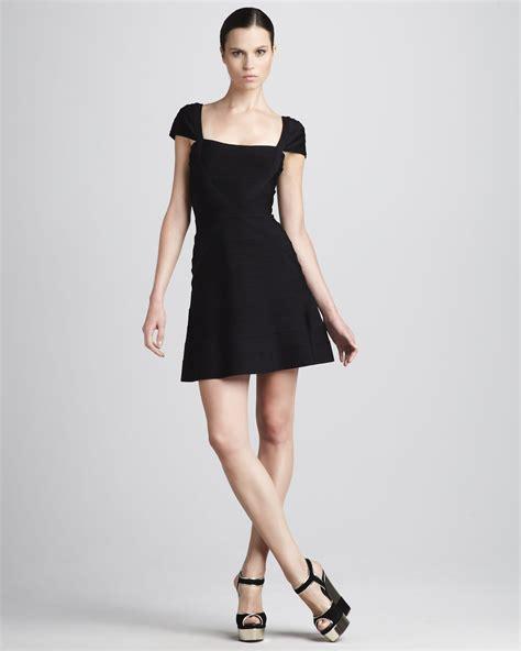herve leger cap sleeve a line bandage dress black