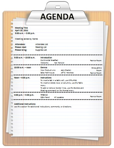 template of an agenda meeting agenda templates 3 free templates format