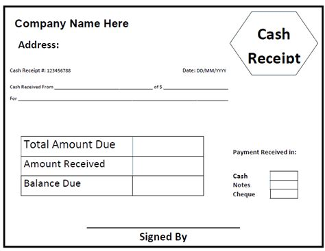 7 sample receipt of payment return receipt form