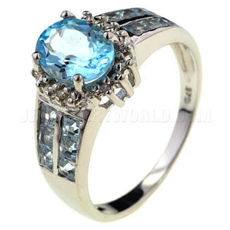 blue topaz 9ct white gold oval shoulder ring jewellery