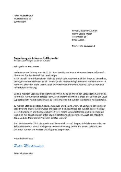 Bewerbungsschreiben Wohnung Muster Schweiz bewerbungsschreiben beispiel schweiz muster vorlage ch