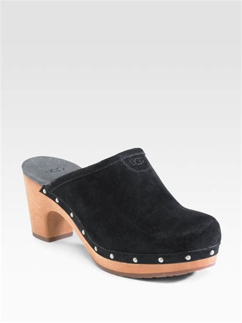 suede clogs for ugg abbie suede clogs in black lyst