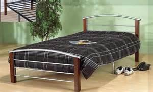 Metal Bed Frame Toronto Tye Silver Metal And Espresso Wood Bed Frame Modern
