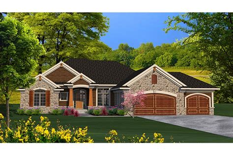 Ranch House Floor Plans With Basement open concept stone ranch hwbdo77261 ranch from