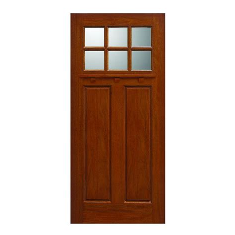 Solid Wood Exterior Door Slab Door 36 In X 80 In Craftsman Collection 6 Lite Prefinished Golden Oak Solid Mahogany Type
