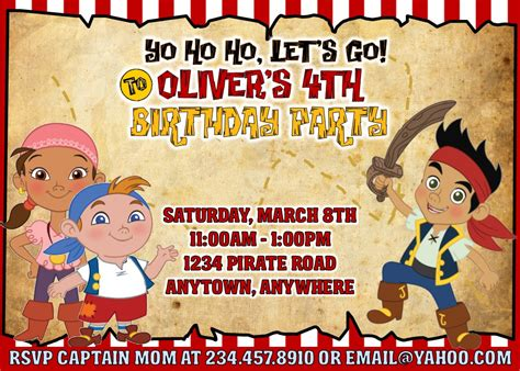 jake and the neverland pirates party games invitations