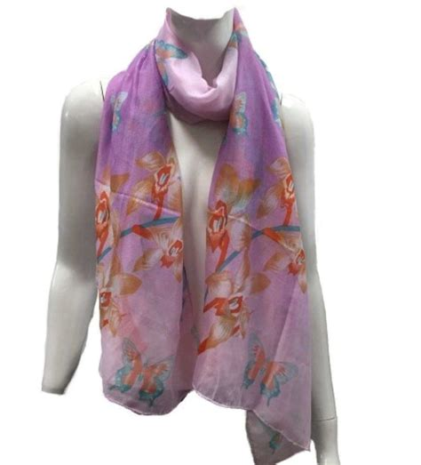 Pashmina Polyester quality womens butterfly patterned polyester