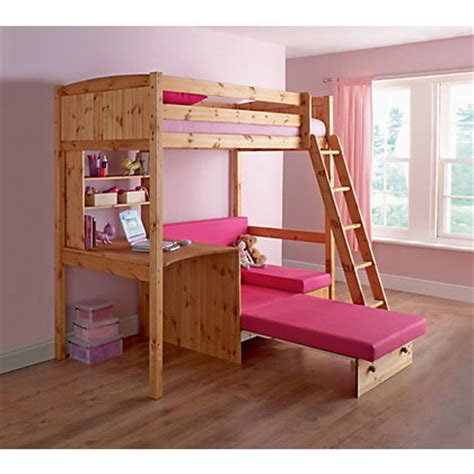 Classic High Sleeper With Sofa Bed Classic Pine High Sleeper With Mattress Fuchsia