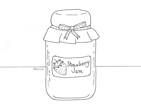Jam Coloring Page strawberry jam coloring page wee folk