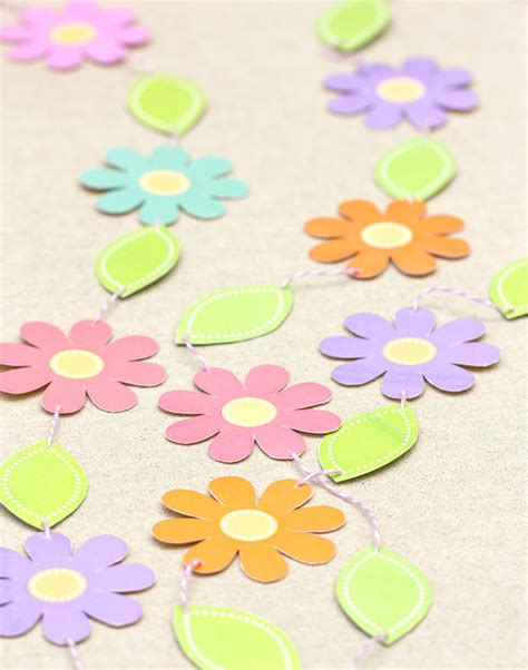 paper flower garland template garden printables gift favor ideas from evermine