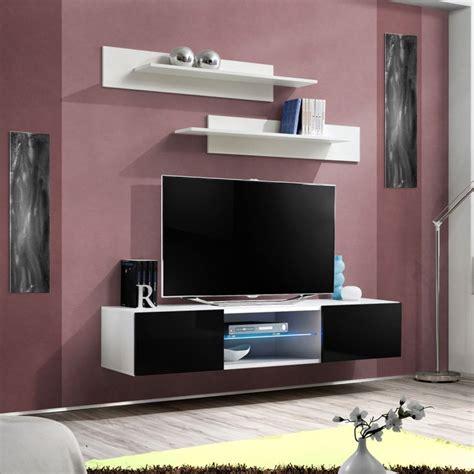Meuble Tv Mural Noir by Meuble Tv Mural Design Quot Fly Iii Quot 160cm Noir Blanc