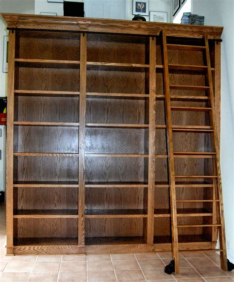 Ladder For Bookcase Custom Bookcase With Rolling Ladder By Dk Kustoms Inc Custommade