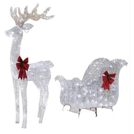 walmart decorative deer outdoor time decor 52in reindeer 40in sleigh with 120 white led lights walmart