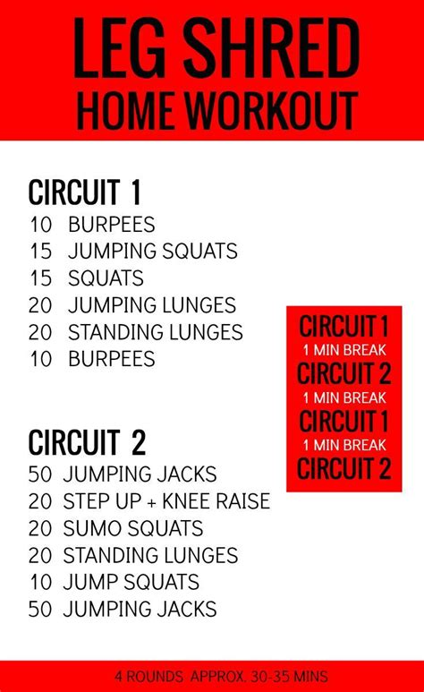 leg shred at home travel workout circuits workout and