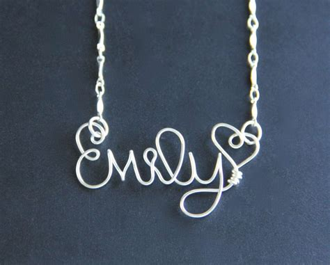 custom name necklace personalized wire word on luulla
