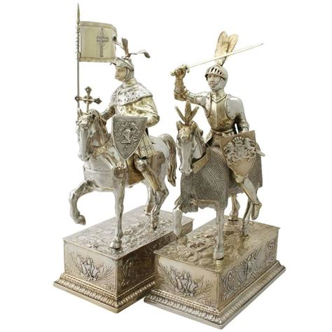 Knights Furniture 1910s antique pair of german silver table knights on