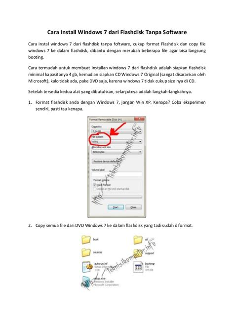 Format Flashdisk Buat Instal Windows | cara install windows 7 dari flashdisk tanpa software