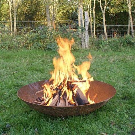 corten steel fire pit wood burner bowl round wood of