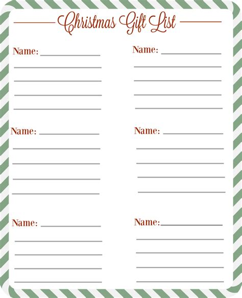 printable christmas gift list christmas gift checklist free printable the diary of a