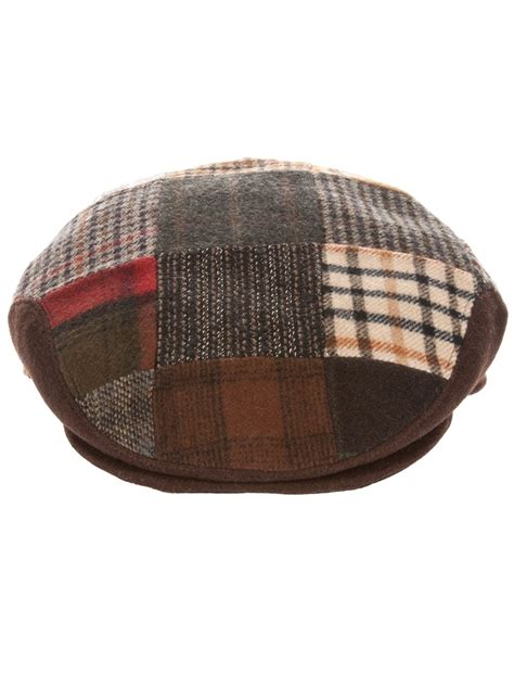Patchwork Flat Cap - brothers patchwork flat cap in brown for lyst