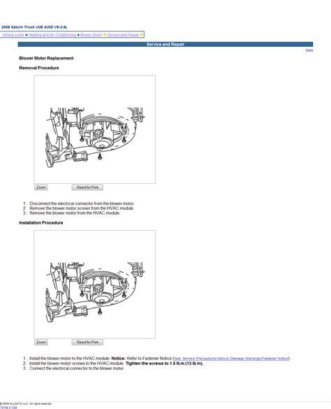 old car manuals online 2007 saturn outlook parental controls service manual 2009 saturn vue blower motor removal