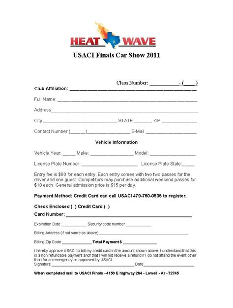 registration form template excel 4 car show registration form templates word templates
