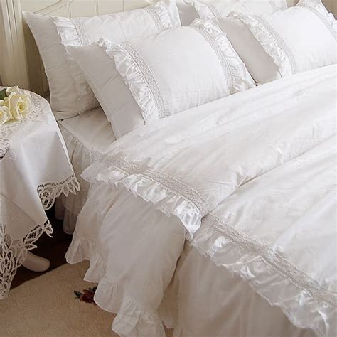 white ruffle king comforter romantic white double ruffle lace bedding sets duvet cover set princess solid color pink