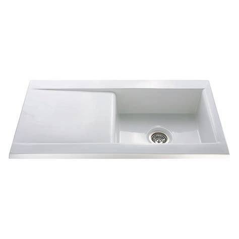 Ceramic Inset Sink by Cda Kc73wh Inset Ceramic Single Bowl Sink