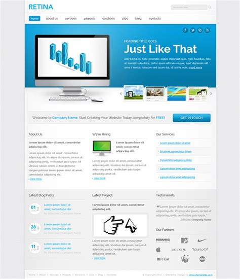 responsive template in blue colors free css templates