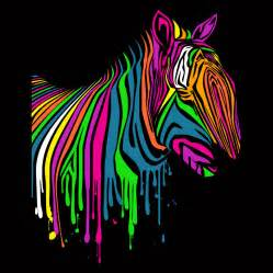 colorful zebra neon zebra by fancy mollykatemartin