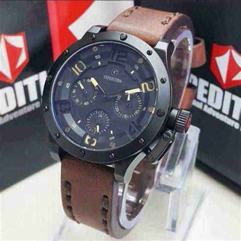 Expedition 6381 Black Brown Leather jual expedition 6381 black steel brown leather baru