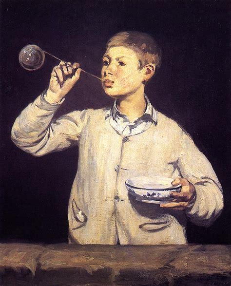 painting boy boy blowing bubbles edouard manet biblioklept