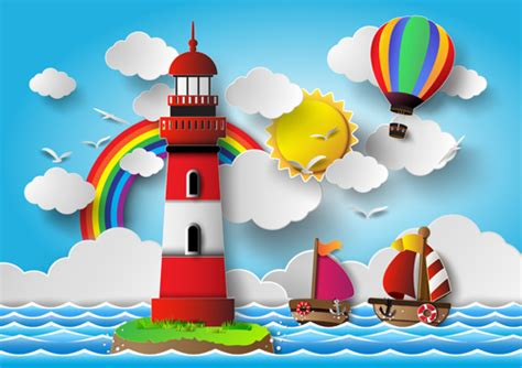 boat cartoon marine sailing boat with marine cartoon vectors 01 vector