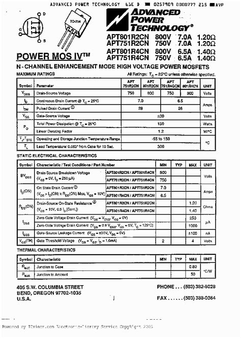 transistor mosfet canal n datasheet apt801r4cn 3063683 pdf datasheet ic on line