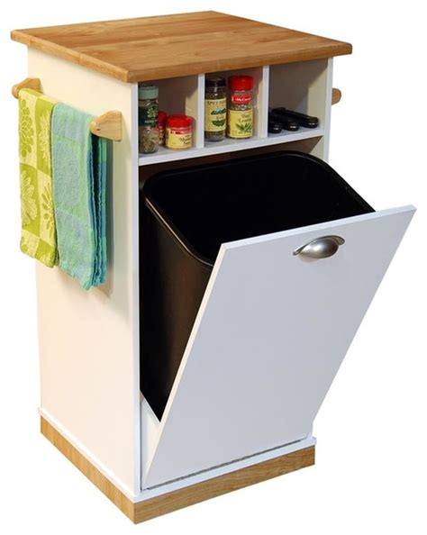 kitchen island with garbage bin mobile trash bin w butcher block top towel