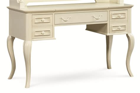 table desk with cabriole legs and built in outlet by