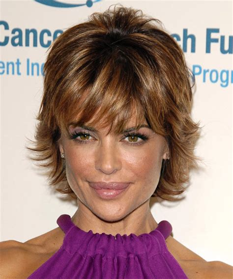 texture of rennas hair lisa rinna short straight formal hairstyle with layered bangs