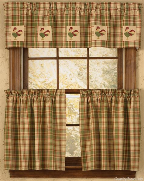 rooster kitchen curtains rooster lined applique curtain valance