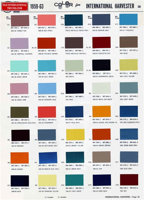 color chart colour charts international truck parts